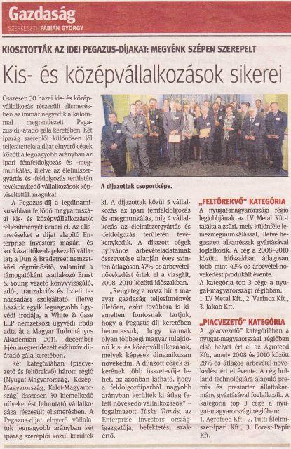 Kisalföld napilap: Kiosztották az idei Pegazus-díjakat